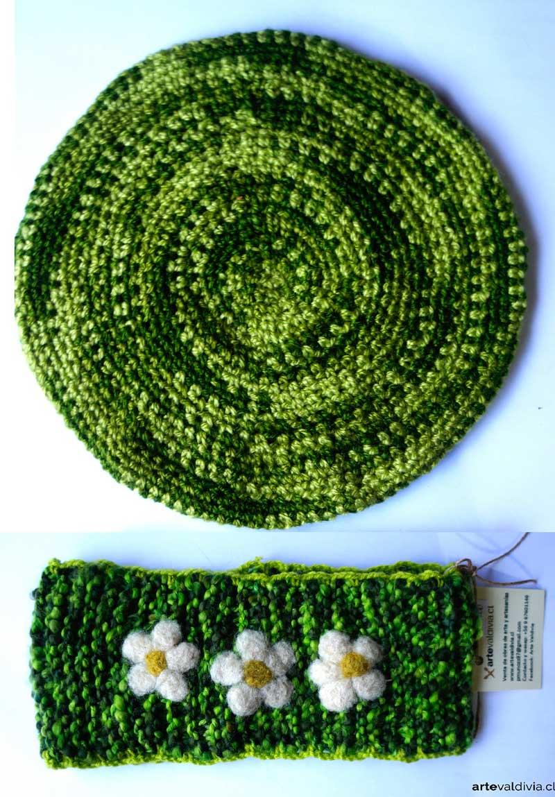 Conjunto Cuello y Boina Verde - Arte Valdivia 68d2b9f9d45