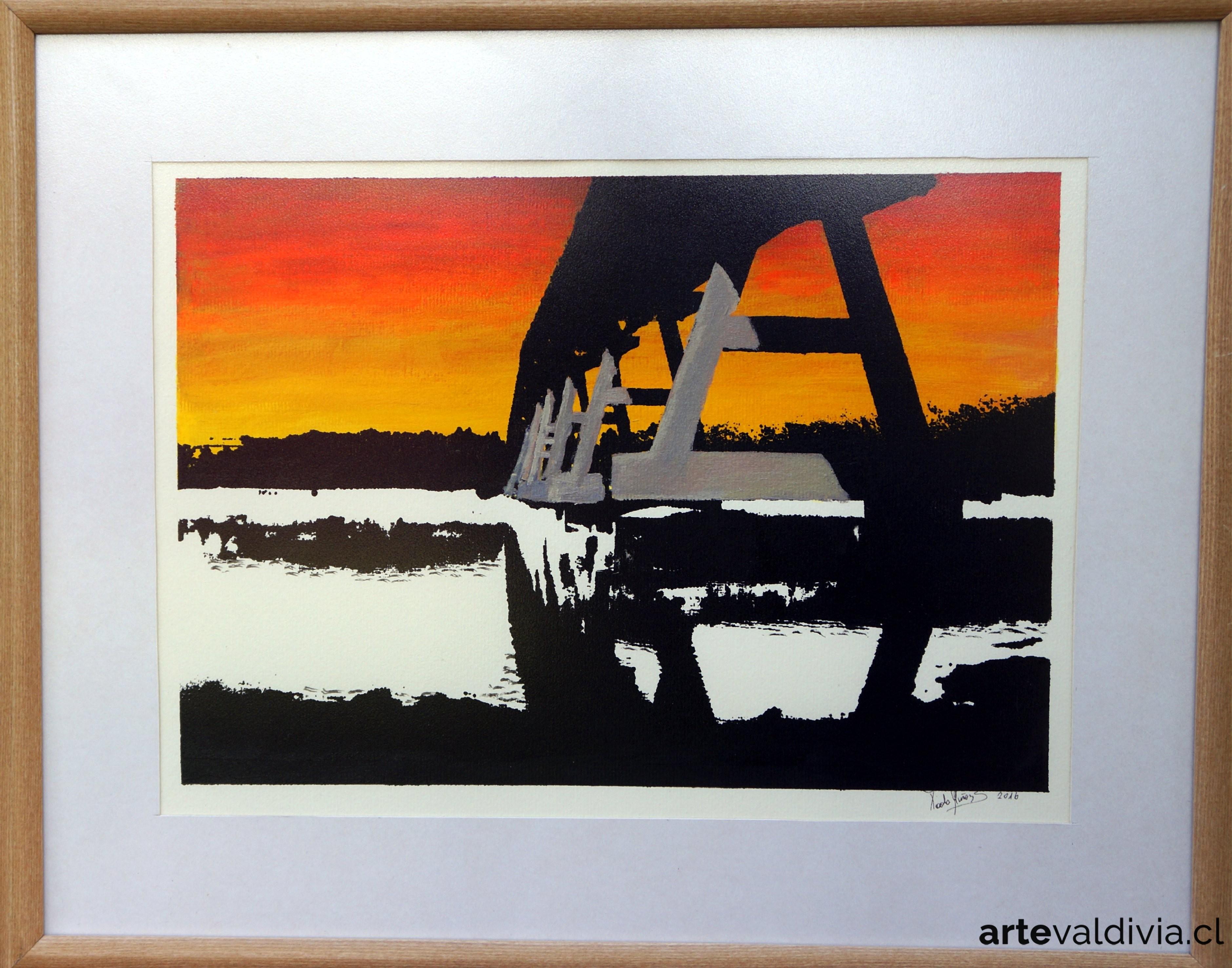 Puente cruces, serigrafía enmarcada en vidrio difuso - Arte Valdivia